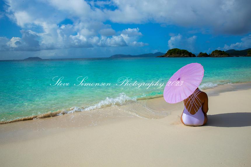 Girl on the beach<br /> Trunk Bay<br /> Virgin Islands National Park<br /> St. John<br /> US Virgin Islands