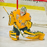 19 February 2016: University of Vermont Catamount Goaltender Packy Munson, a Freshman from Hugo, MN, makes a second period blocker save against the Boston College Eagles at Gutterson Fieldhouse in Burlington, Vermont. The Eagles defeated the Catamounts 3-1 in the first game of their weekend series. Mandatory Credit: Ed Wolfstein Photo *** RAW (NEF) Image File Available ***