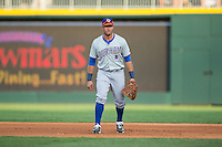 Durham Bulls first baseman J.P. Arencibia (16) on defense against the Charlotte Knights at BB&T BallPark on July 22, 2015 in Charlotte, North Carolina.  The Knights defeated the Bulls 6-4.  (Brian Westerholt/Four Seam Images)