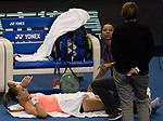 Magdalena Rybarikova of Slovakia receives medical treatment in her singles Round Robin match of the WTA Elite Trophy Zhuhai 2017 against Kristina Mladenovic of France and Magdalena Rybarikova of Slovakia at Hengqin Tennis Center on November  01, 2017 in Zhuhai, China.Photo by Yu Chun Christopher Wong / Power Sport Images