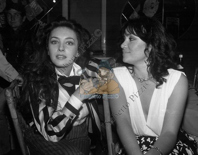 MARIA ROSARIA OMAGGIO E ADRIANA RUSSO<br /> FESTA PER I 10 ANNI DI PLAYBOY<br /> PIPER CLUB ROMA 1980