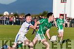 In the Mid Kerry Senior Championship Final 2019 at Glenbeigh/Glencar's pitch on Sunday, Milltown/Castlemaine's Pa Wrenn comes under pressure from Shane McSweeney of Laune Rangers