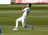 16th April 2021; Emirates Old Trafford, Manchester, Lancashire, England; English County Cricket, Lancashire versus Northants; Saqib Mahmood of Lancashire bowls from the James Anderson End
