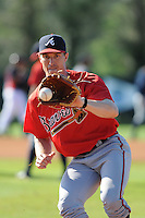 Pitcher Mark Lamm (88) of the Atlanta Braves farm system in a Minor League Spring Training workout on Tuesday, March 17, 2015, at the ESPN Wide World of Sports Complex in Lake Buena Vista, Florida. (Tom Priddy/Four Seam Images)
