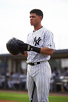 GCL Yankees East catcher Pedro Diaz (53) on deck during the first game of a doubleheader against the GCL Yankees West on July 19, 2017 at the Yankees Minor League Complex in Tampa, Florida.  GCL Yankees West defeated the GCL Yankees East 11-2.  (Mike Janes/Four Seam Images)
