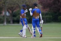 Kiran Kullar (L) and Tom Daniels of Upminster during Upminster CC (batting) vs Ilford CC, Hamro Foundation Essex League Cricket at Upminster Park on 8th May 2021