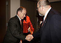 Montreal (QC) CANADA, March 16 to 19 2009 - <br /> Raymond Bachand  QUEBEC Minister of Economic Development, Innovation and Export Tradespeak shake hand with AMERCICANA 2009 Honorary President Felipe Adrian Vazquez Galvez <br /> , , March 17, 2009.