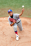Japan's Takashi Nakayama pitches during the Cal Ripken Babe Ruth World Series in Aberdeen, Maryland on August 19, 2012 in the Championship Game.