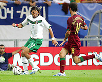 Ricardo Carvalho (16) of Portugal moves in on Jose Fonseca (17) of Mexico. Portugal defeated Mexico 2-1 in their FIFA World Cup Group D match at FIFA World Cup Stadium, Gelsenkirchen, Germany, June 21, 2006.