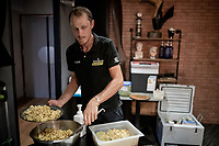 European Champion Matteo Trentin (ITA/Mitchelton-Scott) wins stage 17, the 4th stage win by his Mitchelton-Scott team.<br /> At dinner, just before the 3 major mountain stages in the Alps, Trentin makes sure his energy levels stay up by carb-loading for the days ahead.<br /> <br /> Stage 17: Pont du Gard to Gap (206km)<br /> 106th Tour de France 2019 (2.UWT)<br /> <br /> ©kramon