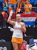 April 18, 2015, Netherlands, Den Bosch, Maaspoort, Fedcup Netherlands-Australia,  Kiki Bertens (NED)   celebrates her win<br /> Photo: Tennisimages/Henk Koster
