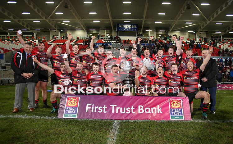 Friday 8th February 2019 | First Trust Ulster Senior Cup Final<br /> <br /> Armagh captain Christopher Colvin celebrates with his team after they won First Trust Ulster Senior Cup Final between Armagh and Ballymena at Kingspan Stadium, Ravenhill Park, Belfast, Northern Ireland. Photo by John Dickson / DICKSONDIGITAL