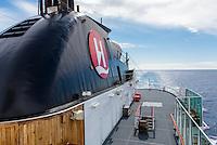 Antarctica expedition aboard the Hurtigruten FRAM ship. Deck of the ship.