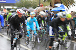 The race restarts in Cogoleto after heavy snow forces the race organizers to abandon part of the race over Passo del Turchino during the 104th edition of the Milan-San Remo cycle race, 17th March 2013 (Photo by Eoin Clarke 2013)