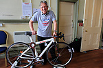 Mike Anderson with his Taurus XE eXperimental Electric assist bike powered by Tesla Mosel S batteries on display at Bespoked 2018 UK handmade bicycle show held at Brunel's Old Station & Engine Shed, Bristol, England. 21st April 2018.<br /> Picture: Eoin Clarke | Cyclefile<br /> <br /> <br /> All photos usage must carry mandatory copyright credit (© Cyclefile | Eoin Clarke)