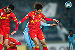 Adelaide United Midfielder Kim Jaesung (C) heads the ball during the AFC Champions League 2017 Group H match between Jiangsu FC (CHN) vs Adelaide United (AUS) at the Nanjing Olympics Sports Center on 01 March 2017 in Nanjing, China. Photo by Marcio Rodrigo Machado / Power Sport Images