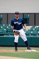 Lakeland Flying Tigers first baseman Wade Hinkle (46) during a game against the St. Lucie Mets on June 11, 2017 at Joker Marchant Stadium in Lakeland, Florida.  Lakeland defeated St. Lucie 1-0.  (Mike Janes/Four Seam Images)