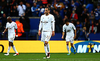 Gylfi Sigurdsson of Swansea City shows a look of dejection after the swecond goal during the Barclays Premier League match between Leicester City and Swansea City played at The King Power Stadium, Leicester on 24th April 2016