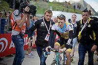 former Maglia Rosa Steven Kruijswijk (NLD/LottoNL-Jumbo) comes in at the finish<br /> <br /> stage 20: Guillestre (FR) - Sant'Anna di Vinadio (IT) 134km<br /> 99th Giro d'Italia 2016
