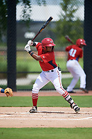 GCL Nationals Edangel Tovar (11) at bat during a Gulf Coast League game against the GCL Astros on August 9, 2019 at FITTEAM Ballpark of the Palm Beaches training complex in Palm Beach, Florida.  GCL Nationals defeated the GCL Astros 8-2.  (Mike Janes/Four Seam Images)