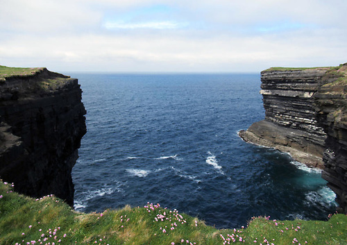 Seascape and cliffs at Downpatrick Head in Co Mayo