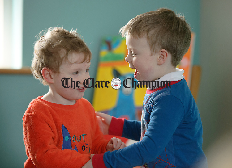 Rory Meade and Padraig Keane having fun during a Pyjama Day party at Teach Spraoi, Toonagh as part of the annual Pyjama Day for Autism. Photograph by John Kelly.