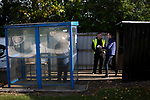 Supporters arriving at the UTS Stadium before the FA Cup fourth qualifying round match between Dunston UTS and their local rivals Gateshead. Founded in 1975, the home team were formerly known as Dunston Federation. The visitors won 4-0 watched by a record crowd of 2,500.