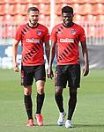 Atletico de Madrid's Saul Niguez (l) and Thomas Partey during training session. June 2,2020.(ALTERPHOTOS/Atletico de Madrid/Pool)
