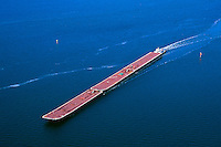 Aerial view of barges and a tugboat. Texas.