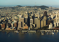historical aerial photograph of the San Francisco waterfront at the Embarcadero in the early morning, 2007
