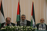 "Deposed Palestinian Authority Prime Minister Ismail Haniyeh, center, is seen during a public relations tour organized by the Islamic group Hamas for local and foreign journalists in Gaza City, Monday, July 30 2007.""photo by Fady Adwan"""