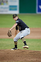 West Virginia Black Bears relief pitcher Conner Loeprich (25) delivers a pitch during a game against the Batavia Muckdogs on July 2, 2018 at Dwyer Stadium in Batavia, New York.  West Virginia defeated Batavia 3-1.  (Mike Janes/Four Seam Images)