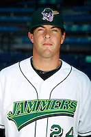 Jamestown Jammers first baseman Brian McConkey #24 poses for a photo before a game against the Mahoning Valley Scrappers at Russell E. Diethrick Jr Park on September 2, 2011 in Jamestown, New York.  Mahoning Valley defeated Jamestown 8-4.  (Mike Janes/Four Seam Images)