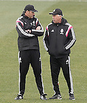 Real Madrid's coach Carlo Ancelotti (r) with his second Paul Clement during training session.January 30,2015.(ALTERPHOTOS/Acero)