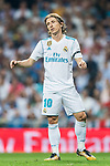 Luka Modric of Real Madrid gestures during the La Liga 2017-18 match between Real Madrid and Real Betis at Estadio Santiago Bernabeu on 20 September 2017 in Madrid, Spain. Photo by Diego Gonzalez / Power Sport Images