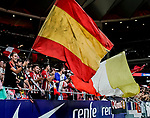 Soccer fans wave the Spanish flag during the La Liga 2018-19 match between Atletico de Madrid and Rayo Vallecano at Wanda Metropolitano on August 25 2018 in Madrid, Spain. Photo by Diego Souto / Power Sport Images
