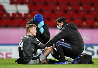 26th December 2020; Ewood Park, Blackburn, Lancashire, England; English Football League Championship Football, Blackburn Rovers versus Sheffield Wednesday; Joost van Aken of Sheffield Wednesday receives treatment on the pitch before he is substituted