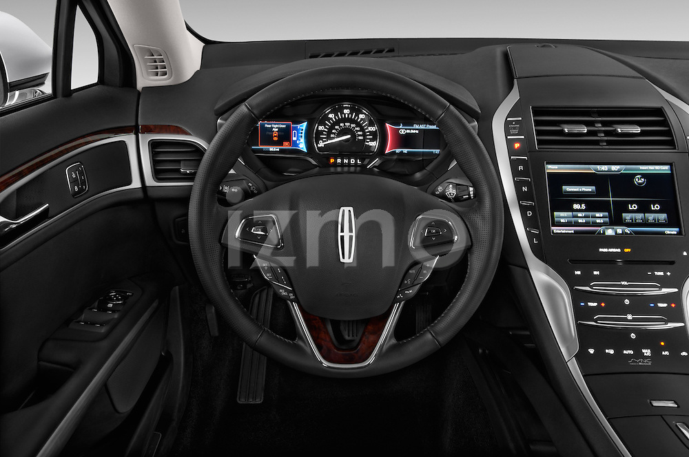 Steering wheel view of a 2013 Lincoln MKZ Hybrid Sedan