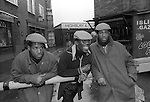 Chuka and Dubem Okonkwo who became known as Chet and Joe Okonkwo with older brother Francis ( centre) They are the so called Islington Twins who hung out at 'The Bar' outside Highbury and Islington tube station. London Uk 1984.