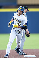 Michigan Wolverines first baseman Jordan Brewer (22) rounds second base after his 4th inning 2 run home run against the Western Michigan Broncos on March 18, 2019 in the NCAA baseball game at Ray Fisher Stadium in Ann Arbor, Michigan. Michigan defeated Western Michigan 12-5. (Andrew Woolley/Four Seam Images)