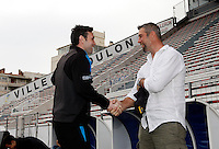 Photo: Richard Lane/Richard Lane Photography. Wasps rugby team and supporters travel to Toulon for the RC Toulon v Wasps.  European Rugby Champions Cup Quarter Final. 04/04/2015. Wasps coach Stephen Jones catches up with Simon Shaw.