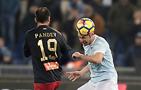 Calcio, Serie A: Lazio - Genoa, Roma, Stadio Olimpico, 5 Febbraio 2018. <br /> Lazio's Stefan Radu (r) in action with Genoa's Goran Pandev (l) during the Italian Serie A football match between Lazio and Genoa at Rome's Stadio Olimpico, February 5, 2018.<br /> UPDATE IMAGES PRESS/Isabella Bonotto