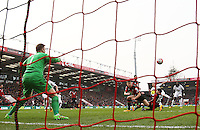 Gylfi Sigurdsson scores his sides second goal during the Barclays Premier League match between AFC Bournemouth and Swansea City played at The Vitality Stadium, Bournemouth on March 12th 2016