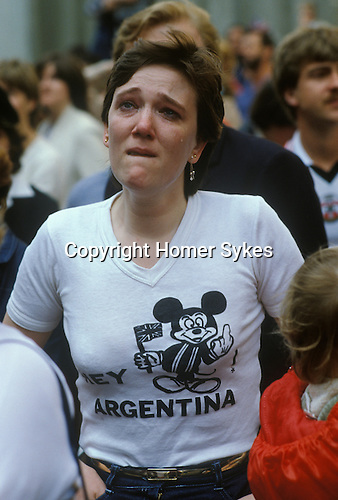 Falklands War, Woman weeps as her soldier husband leaves aboard the QE2 Southampton Dock Wednesday 12 May 1982. 1980s UK