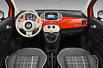 Stock photo of straight dashboard view of 2016 Fiat 500-C Lounge 2 Door Convertible Dashboard