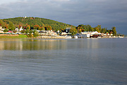 Weirs Beach on Lake Winnipesaukee in New Hampshire USA cloudy autumn day.