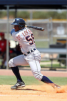 Detroit Tigers infielder Carlos De Los Santos #56 during an extended Spring Training game against the Washington Nationals at the Carl Barger Training Complex on April 30, 2012 in Viera, Florida.  (Mike Janes/Four Seam Images)
