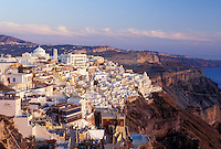 Santorini, Greek Islands, Fira, Cyclades, Greece, Europe, Scenic view of the village of Fira on the steep hillside of Santorini Island on the Aegean Sea.