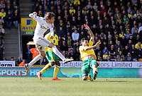 Pictured: Michu of Swansea (L) scoring the opening goal.  Saturday 06 April 2013<br /> Re: Barclay's Premier League, Norwich City FC v Swansea City FC at the Carrow Road Stadium, Norwich, England.