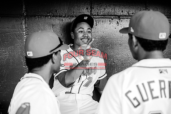 Photo of the Greenville Drive in a game against the West Virginia Power on Tuesday, April 16, 2013, at Fluor Field at the West End in Greenville, South Carolina. West Virginia won, 8-3. (Tom Priddy/Four Seam Images)
